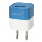 LC.CCY USB AC 100~240V Power Adapter for iPhone 5 - Blue + White (2-Flat-Pin Plug)