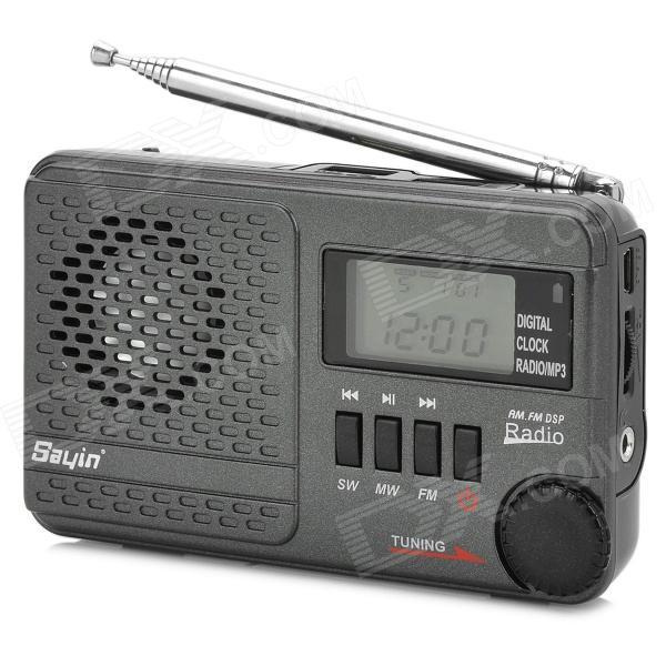 SAYIN SY-1192 FM / MW / SW 14 Band Stereo Radio w/ Speaker / Antenna / TF / USB / MP3 - Deep Grey 100w 150w 2u professional fm broadcast radio transmitter fm transmisor 87 108 mhz dipole antenna