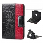 (VR) 59-Key Bluetooth V3.0 Keyboard Rotatable Cover Case for Samsung Tab3 P3200 - Black + Red