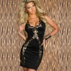LC2813 Women's Sexy Sleeveless Foil Bodycon Dress - Black + Golden (Size-L)