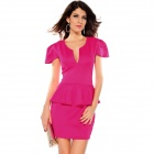 LC2774-3 Stylish Sexy Short-Sleeve V-Neck OL Peplum Dress - Deep Pink (Size-L)
