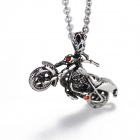 eQute PSSM88 Men's Titanium Steel Red Eyes Skull Motorcycle Pendant O-Chain Necklace - Silver