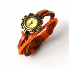 Fashionable Retro Style PU leather Band Lady's Quartz Analog Wrist Watch - Orange + Bronze (1 x 626)