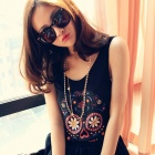 LC25092-2 Fashionable Cool Colorful Skull Pattern Tank Tee Top for Women - Black (Free Size)