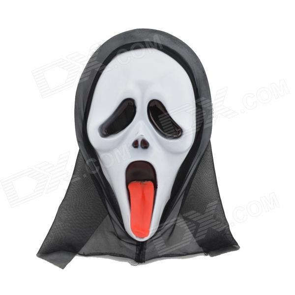 Cool Screaming Mask w/ Tongue - White + Black + Red