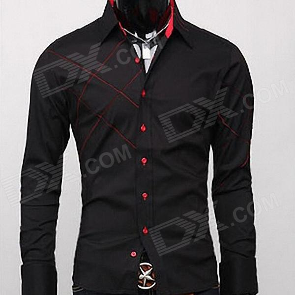 Stylish Men's Slim Fit Shirt - Black   Red (Size L) - Free ...
