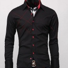 Stylish Men's Slim Fit Shirt - Black + Red (Size L)