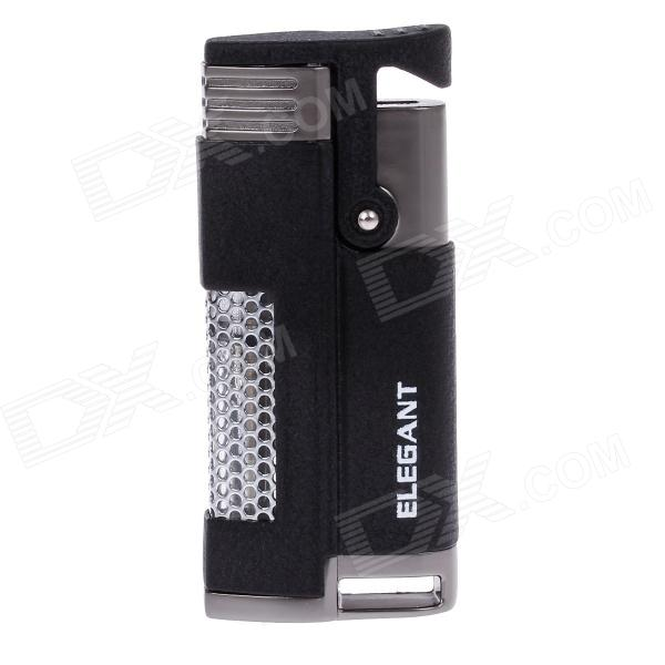 ELEGANT 806 Fashionable Business Windproof Blue Flame Butane Lighter - Black + Silver wrench shaped steel butane lighter