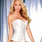 LC5281-1 Sexy Rhinestone Embellishment Brocade Corset for Women - White (Size-L)