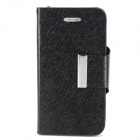 Luxury Silk Style Flip Open PU Leather Case w/ Card Slot for Iphone 4 /4S  - Black