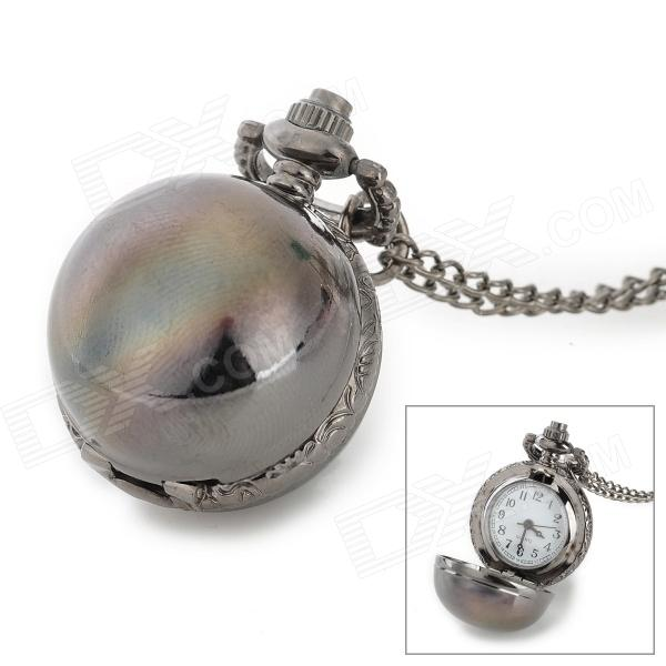 Retro Alloy Dial Chain Quartz Analog + Digital Pocket Watch / Decorative Necklace - Gun Color 4 design bronze vintage quartz pocket watch free mason sword art online gear necklace pendant chain womens mens gifts p1123