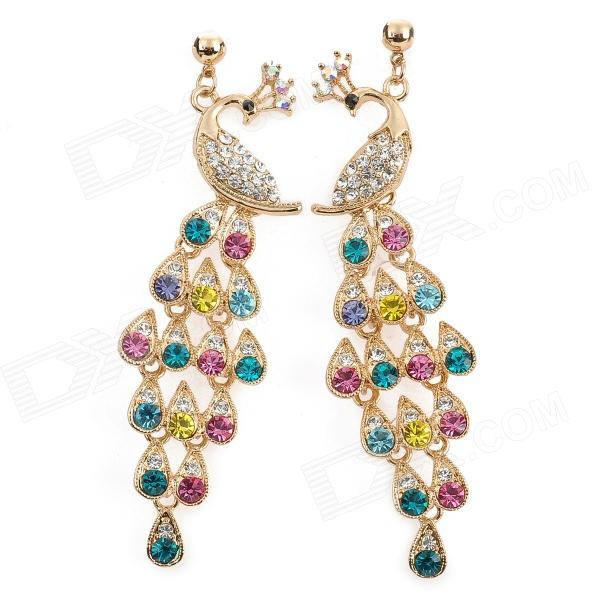 ZEA-GQRZ-001 Peacock Style Alloy + Rhinestones Dangle Earrings - Golden + Multicolored (Pair)