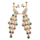 Peacock Style Alloy + Rhinestones Dangle Earrings - Golden + Multicolored (Pair)