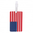 American Flag Style Travel PVC Bag / Luggage Tag w/ Strap - Red + Blue + White