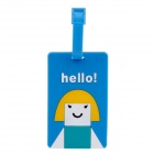 Lovely Girl Pattern PVC Luggage Tag - Blue + Yellow + White + Green + Black