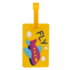 Plane Style Travel PVC Bag / Luggage Tag w/ Strap - Yellow + Blue + Deep Pink