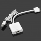 HDMI Female to USB / 30-Pin Male HD Cable for iPad 2 / iPhone 4S - White