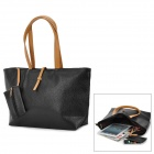 Fashion PU Shoulder Bag for Women - Black + Brown