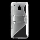 Protective Frosted TPU Back Case w/ Stand for HTC One Mini - Translucent