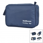 WELLHOUSE WH-00301 Nylon Zipper Wash Bag - Dark Blue