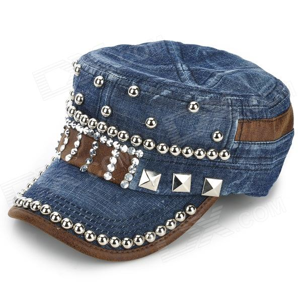 Stylish Denim + Artificial Leather + Rivet Hat w/ Buckle for Women - Deep Blue + Silver + Brown