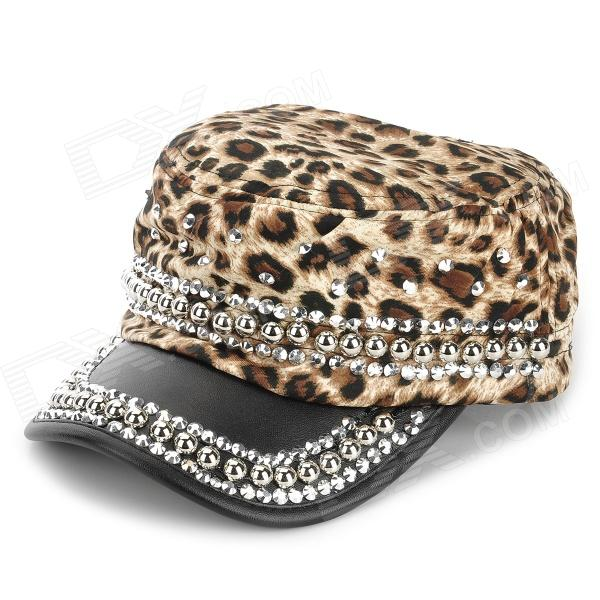 Leopard Pattern Cloth + Artificial Leather + Round Rivets Hat for Women - Black + Brown + Silver