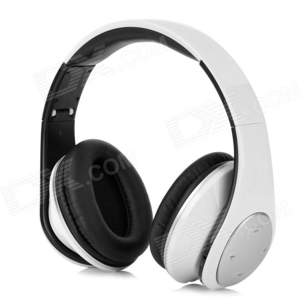 Qiyin E-990 Bluetooth v3.0 + EDR Stereo Headphones w/ Microphone - Black + White + Silver qiyin bt 990 stylish bluetooth v3 0 edr wireless stereo headset w microphone black silver