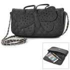 Concise Butterfly Pattern PU Handbag / Shoulder Bag for Women - Black