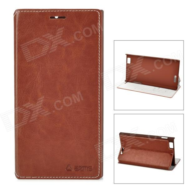 AZNS Protective PU Leather Case for Lenovo K900 - Brown azns protective pu leather case for samsung i8552 red