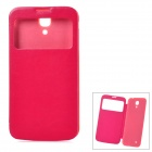 Protective PU Leather Case Cover w/ Display Window for Samsung Galaxy Mega 6.3 i9200 - Deep Pink
