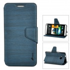 Protective Wood Grain Style PU Leather Plastic Back Case for HTC M7 - Deep Blue