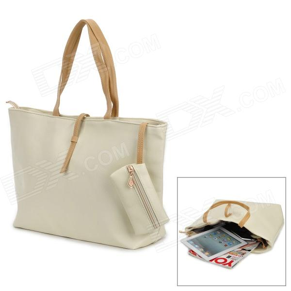 Casual PU Shoulder Bag for Women - Beige