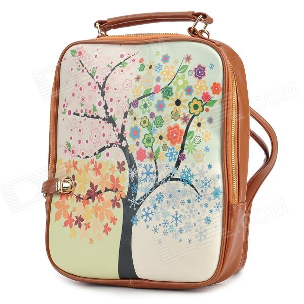 BJ201 Fashion Printing Tree Pattern PU Backpack / Handbag for Women - Brown + Multicolored