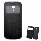 Alligator Pattern Protective PU Leather Case Cover for Samsung Galaxy S4 Mini i9190 - Black