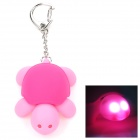 Cute Little Turtle 2-LED Light Keychain w/ Sound Effect - Deep Pink + Pink (3 x AG10)