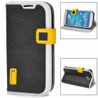 HELLO DEERE Ice Crystal Series Flip-open PU Leather Case w/ Holder for Samsung S4 i9500 - Black