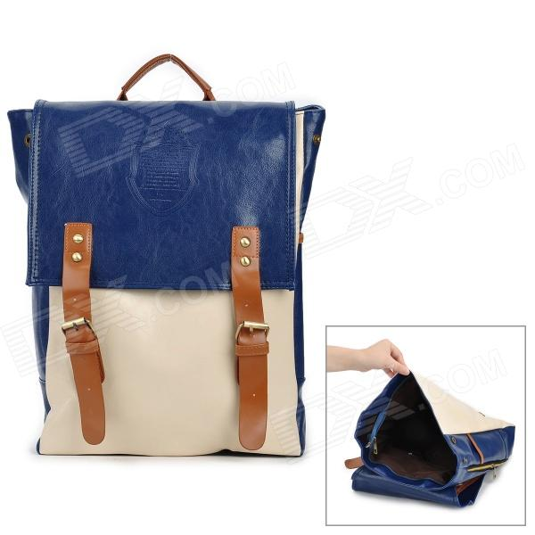 BG201 Casual PU Backpack for Women - Deep Blue + Beige + Brown