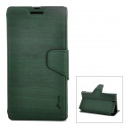 Protective Wood Grain Style PU Leather Plastic Back Case for Sony L36H - Deep Green