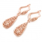 MK10 Hollow Water Drop Style Copper Alloy Dangle Earrings for Women - Rose Golden (Pair)