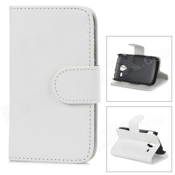 Stylish Flip-open PU Leather Purse Case w/ Holder + Card Slot for Samsung Galaxy Ace 2 i8160 - White - DXLeather Cases<br>Brand N/A Quantity 1 Piece Color White Material PU Compatible Models Samsung Galaxy Ace 2 i8160 Packing List 1 x Case<br>