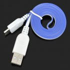 USB to Micro USB Data/Charging Flat Cable for Samsung Galaxy S3 i9300 / S4 i9500 - Blue + White