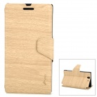 Protective Wood Grain PU Leather + Silicone Case for Sony L36H - Wood Color