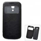 Protective PU Leather Case Cover w/ Display Window for Samsung Galaxy S4 Mini i9190 - Black