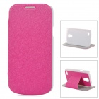 Stylish Flip-open PU Leather Case w/ Holder + Auto Sleep Cover for Samsung S4 Mini - Deep Pink