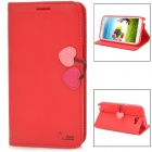 HELLO DEERE Cherry Series Fashionable Flip-open PU Leather Case w/ Holder for Samsung N7100 Note 2