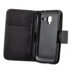 Stylish Flip-open PU Leather Purse Case w/ Holder + Card Slot for Samsung Galaxy Ace 2 i8160 - Black
