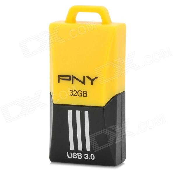 PNY F1 Mini Portable USB 3.0 Flash Drive w/ Strap - Yellow + Black (32GB) coofit 3 in 1 multifunction unisex backpack bagpack retro canvas laptop backpacks for women men travel daypack shoulder bag