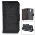 Protective Sexangle Pattern Flip Open PU Leather Case w/ Card Slot for Samsung i9190 - Black