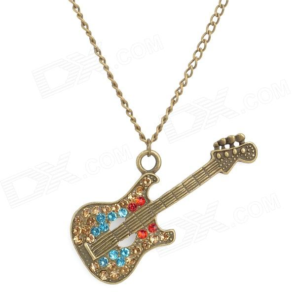 Bass Style Enamel Alloy + Rhinestones Pendant Necklace - Bronze high quality vintage classic new bronze colorful enamel owl pocket watch women necklace with chain free shipping p31