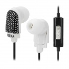 KEEKA KA-20 Stylish In-Ear Earphones w/ Microphone - Black + White (3.5mm Plug / 1.2m)
